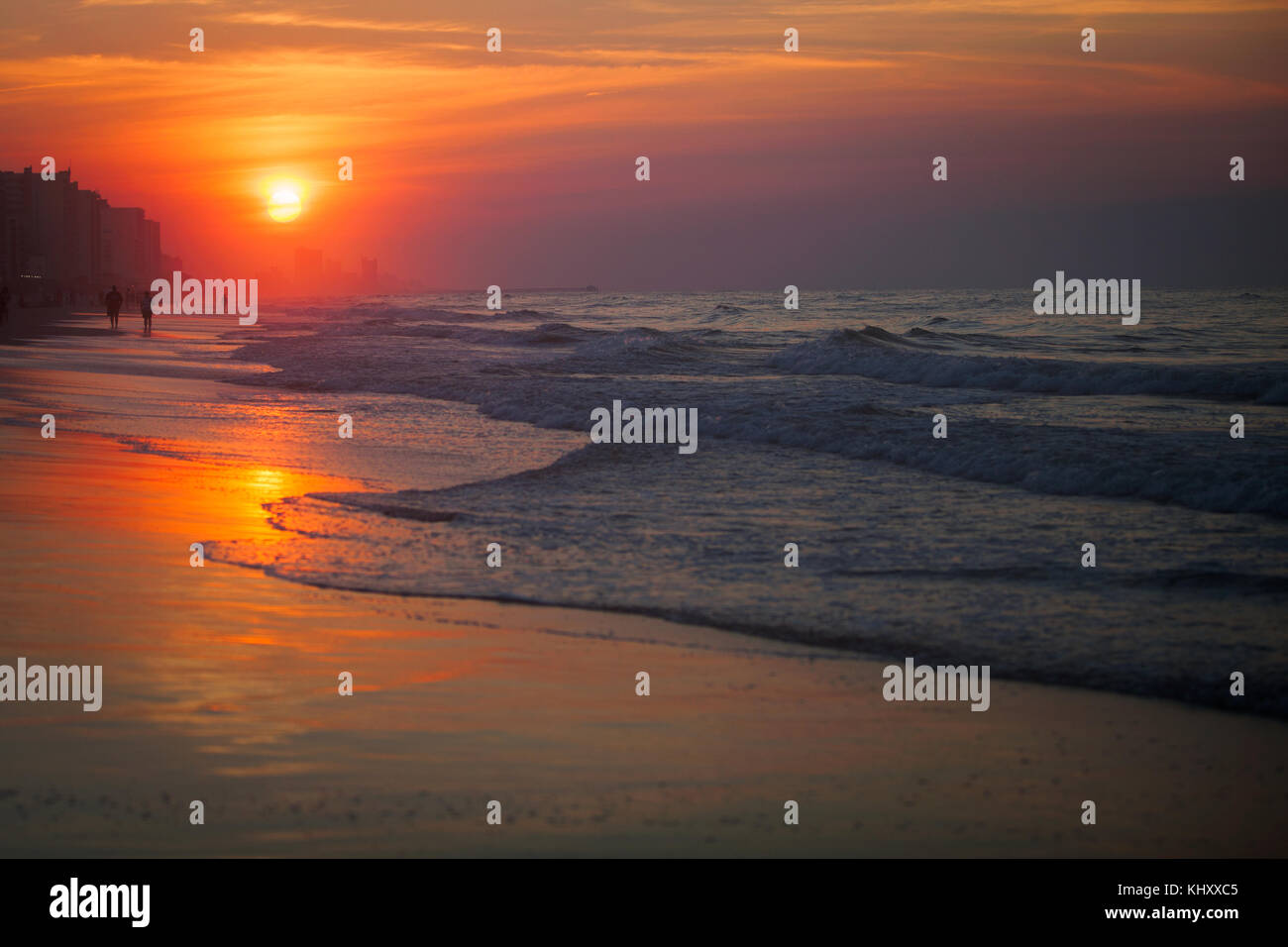 People On Beach At Sunset North Myrtle South Carolina United States
