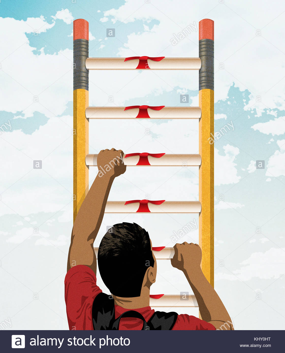 Student climbing ladder of pencils and diplomas Stock Photo ... for Student Climbing Ladder  66plt