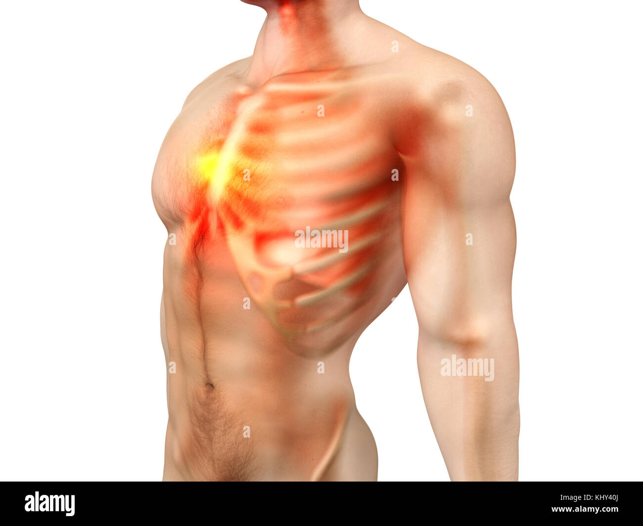 Pain in the Chest or the heart. 3D rendered illustration Stock Photo ...