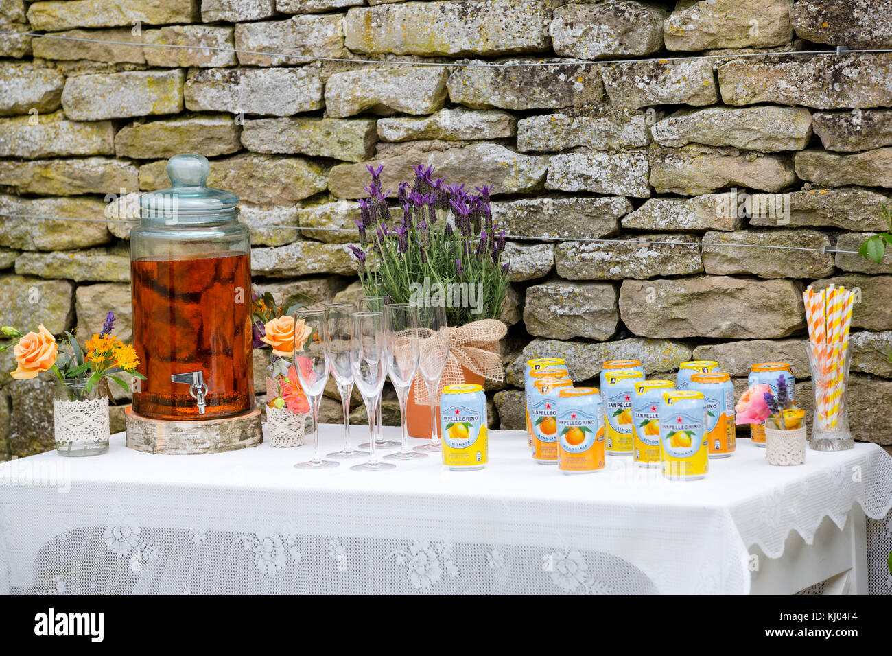 Traditional Wedding Reception Table With Tea Urn Champagne Flutes