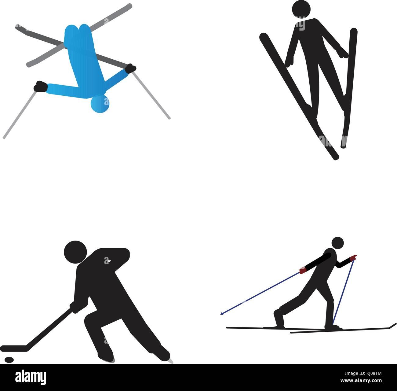 Set of winter sport symbols stock vector art illustration set of winter sport symbols biocorpaavc