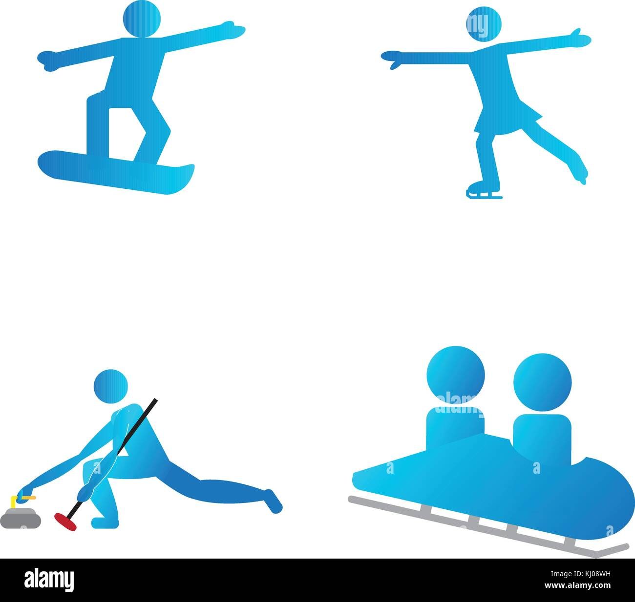 Set Of Winter Sport Symbols Stock Vector Art Illustration Vector