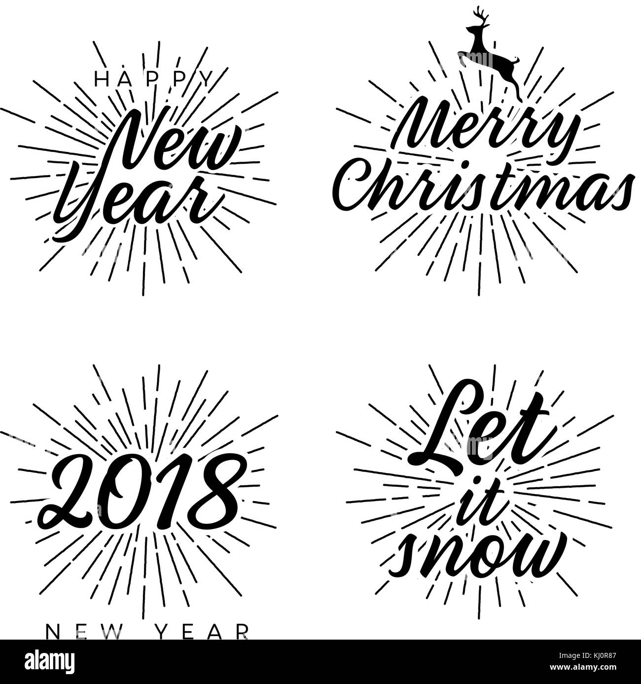 New Year and Merry Christmas signs with burst. Vector illustration ...