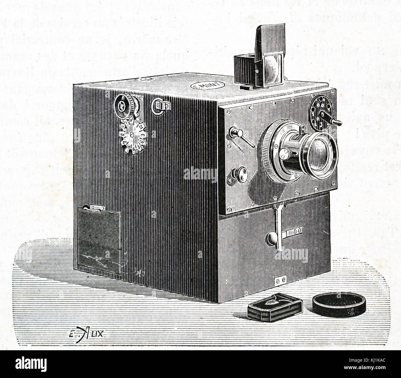 engraving depicting a monti camera dated 19th century stock photo