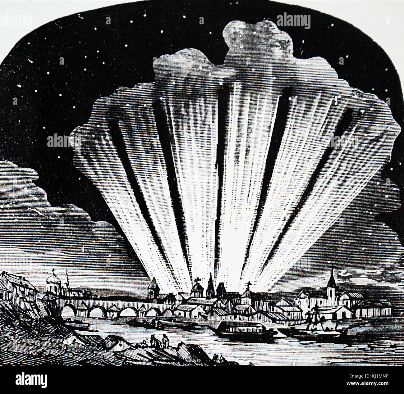 Engraving depicting the Great Comet of 1744. Dated 18th Century