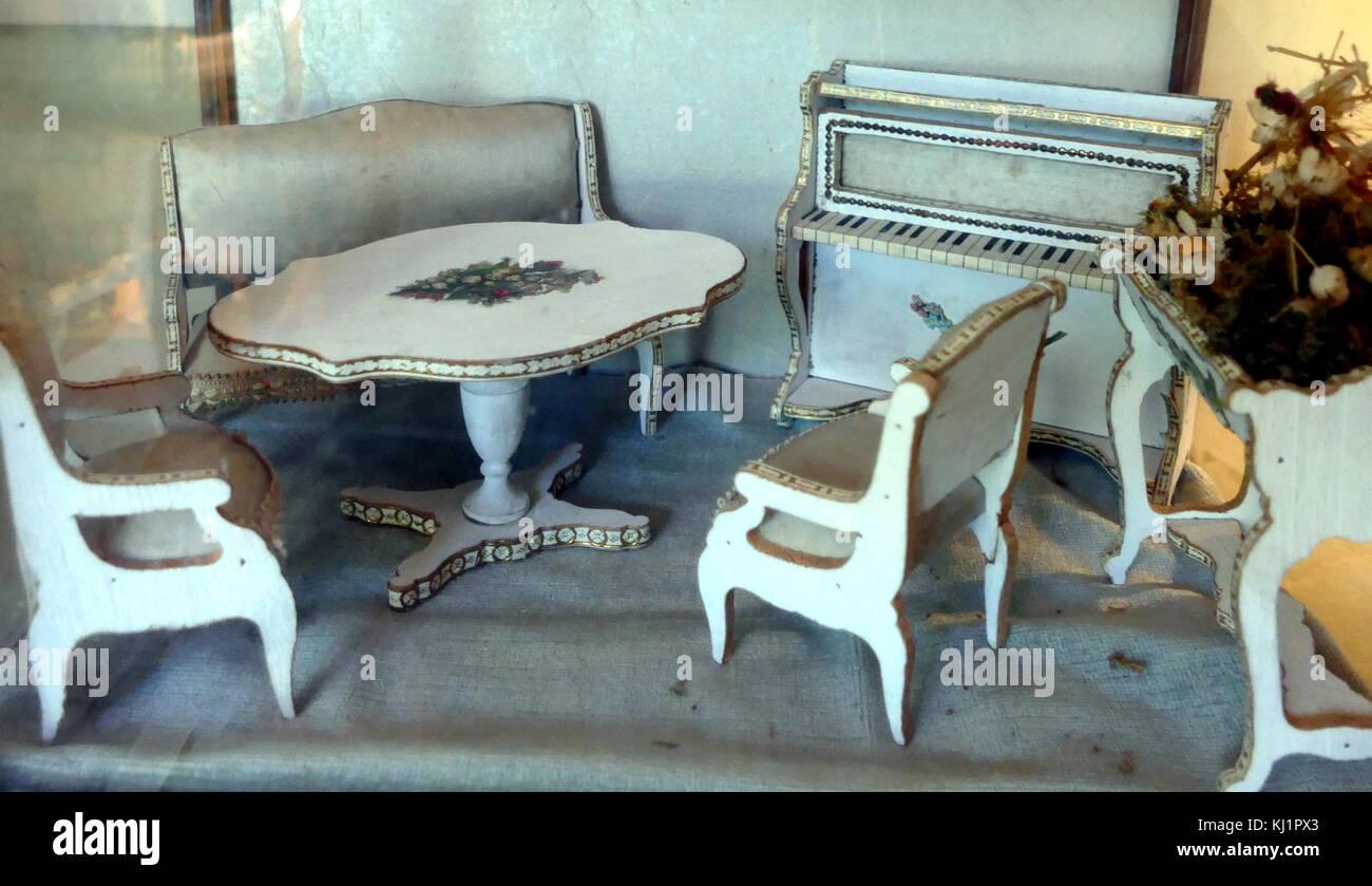 fretwork furniture. Fretwork Furniture In A French Dolls House Room Setting, Circa 1900 0