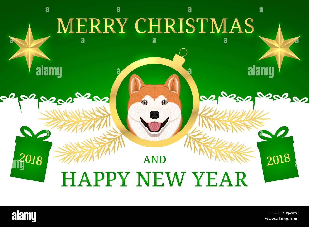 happy new year 2018 and merry christmas with akita inu dog vector holiday banner with merry christmas greeting in golden and green color golden shin
