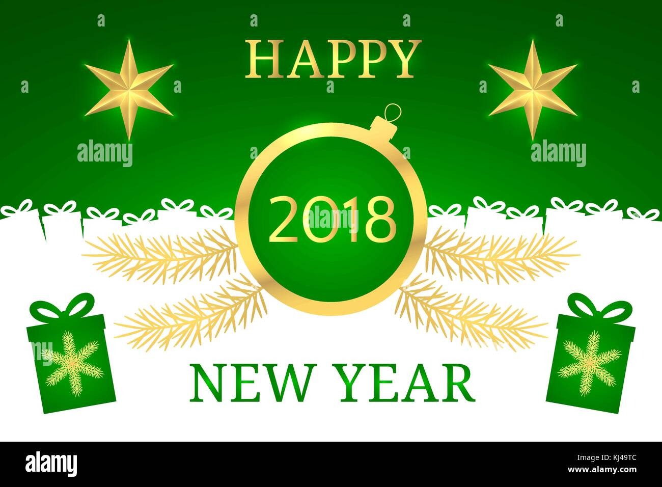 Happy New Year 2018 Vector Banner With New Year Greeting In Golden