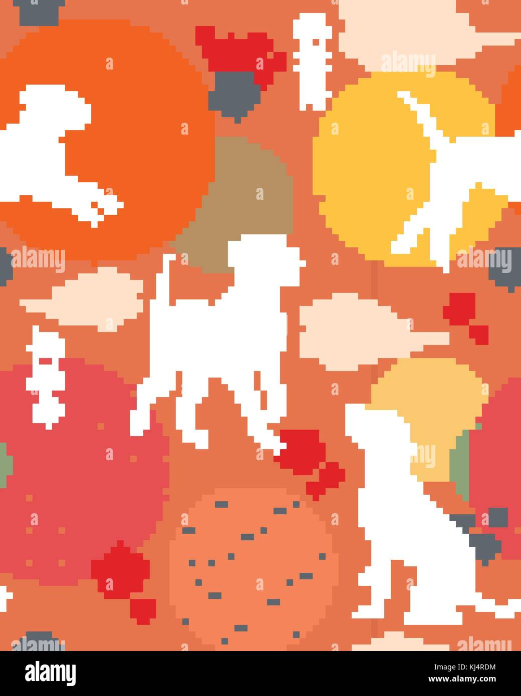 dog new year seamless pattern in trendy colors chinese 2018 seamless background holiday invitation vector background