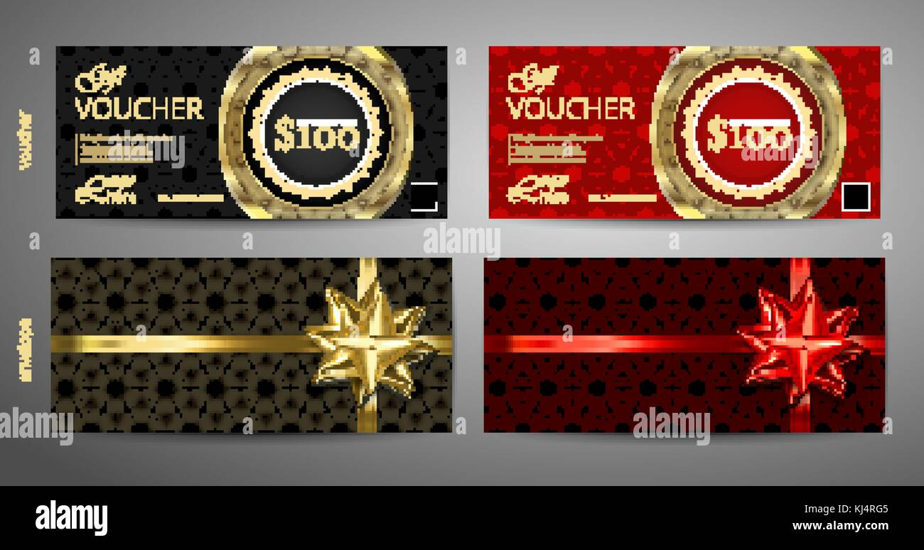 set of gift voucher template with premium pattern and envelope stock