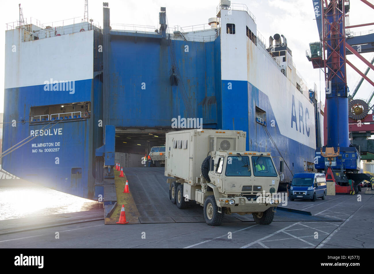 Lovely Transport Of US Army Military Equipment Came To Port Of Gdansk In Gdansk,  Poland,