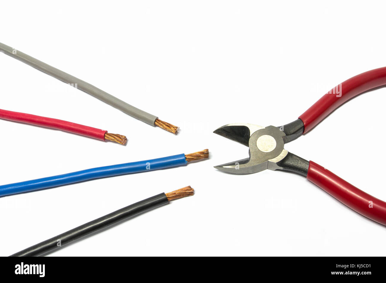 Electric power cable and wire cutter with white background Stock ...