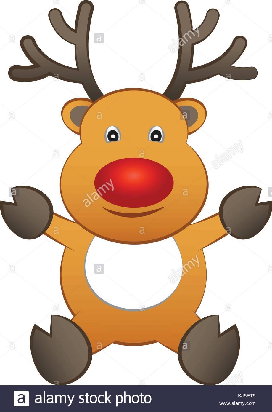 Smiling cartoon brown reindeer sit and raise hand to show season smiling cartoon brown reindeer sit and raise hand to show season of greeting and happy christmasvector illustration kristyandbryce Image collections