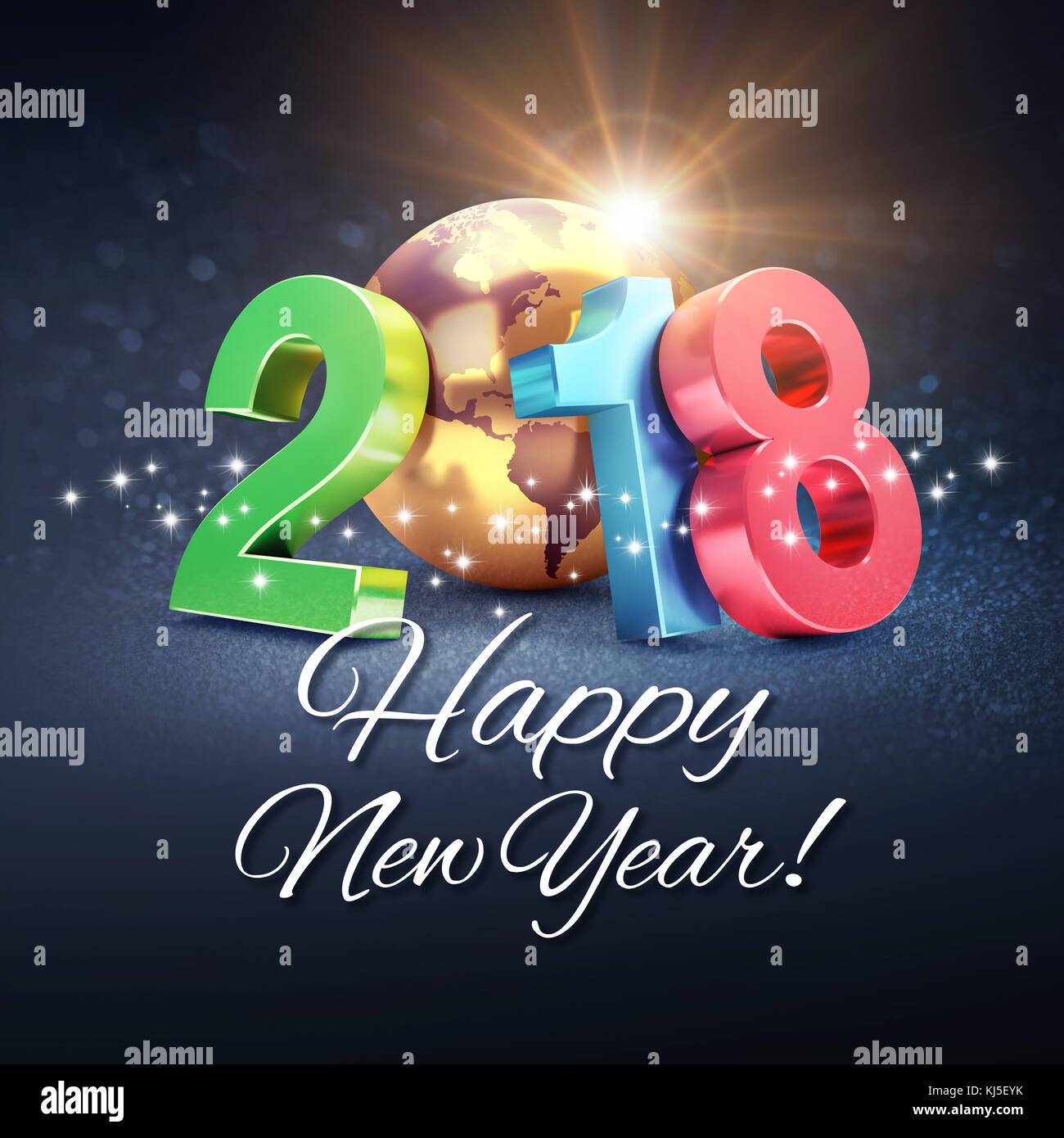 Greetings And Colorful New Year Date 2018 Composed With A Gold
