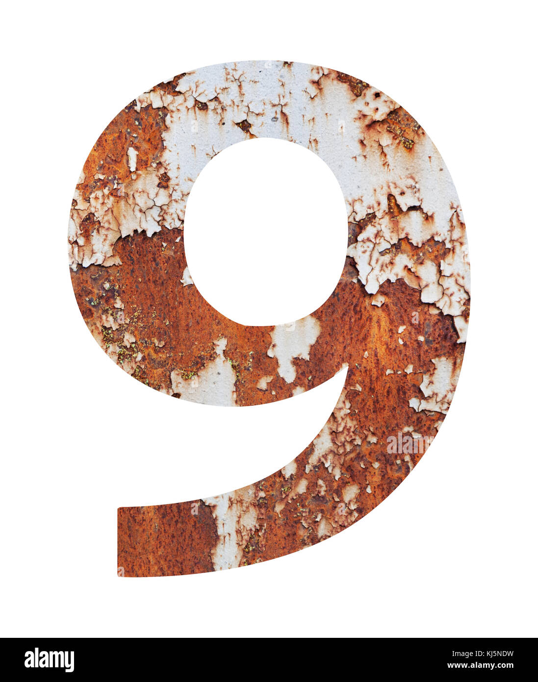 Old Rusty Metal Alphabet Text 9 Isolated Over The White Background With Clipping Path