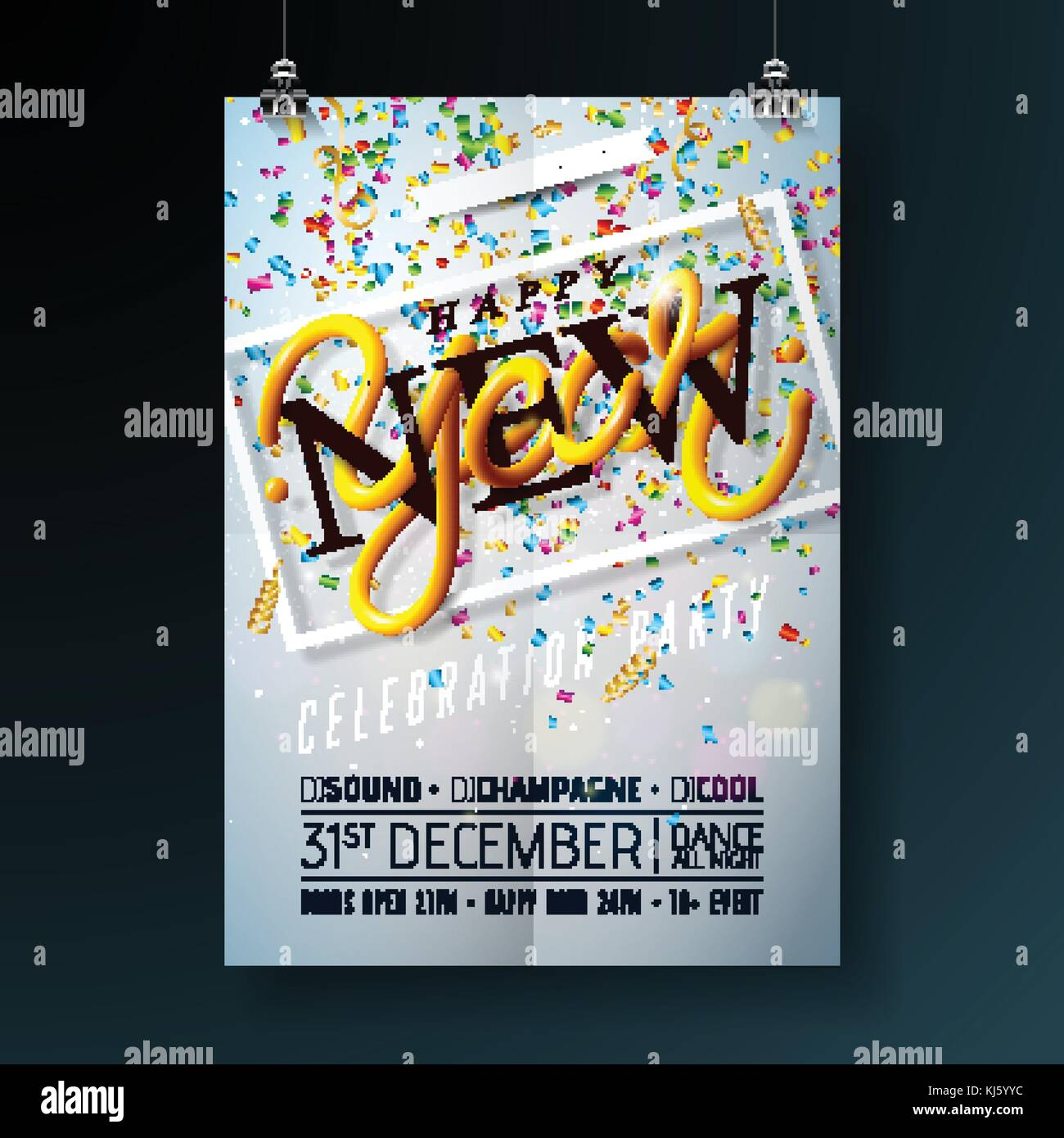 happy new year party celebration flyer template illustration with typography design and falling confetti on shiny background