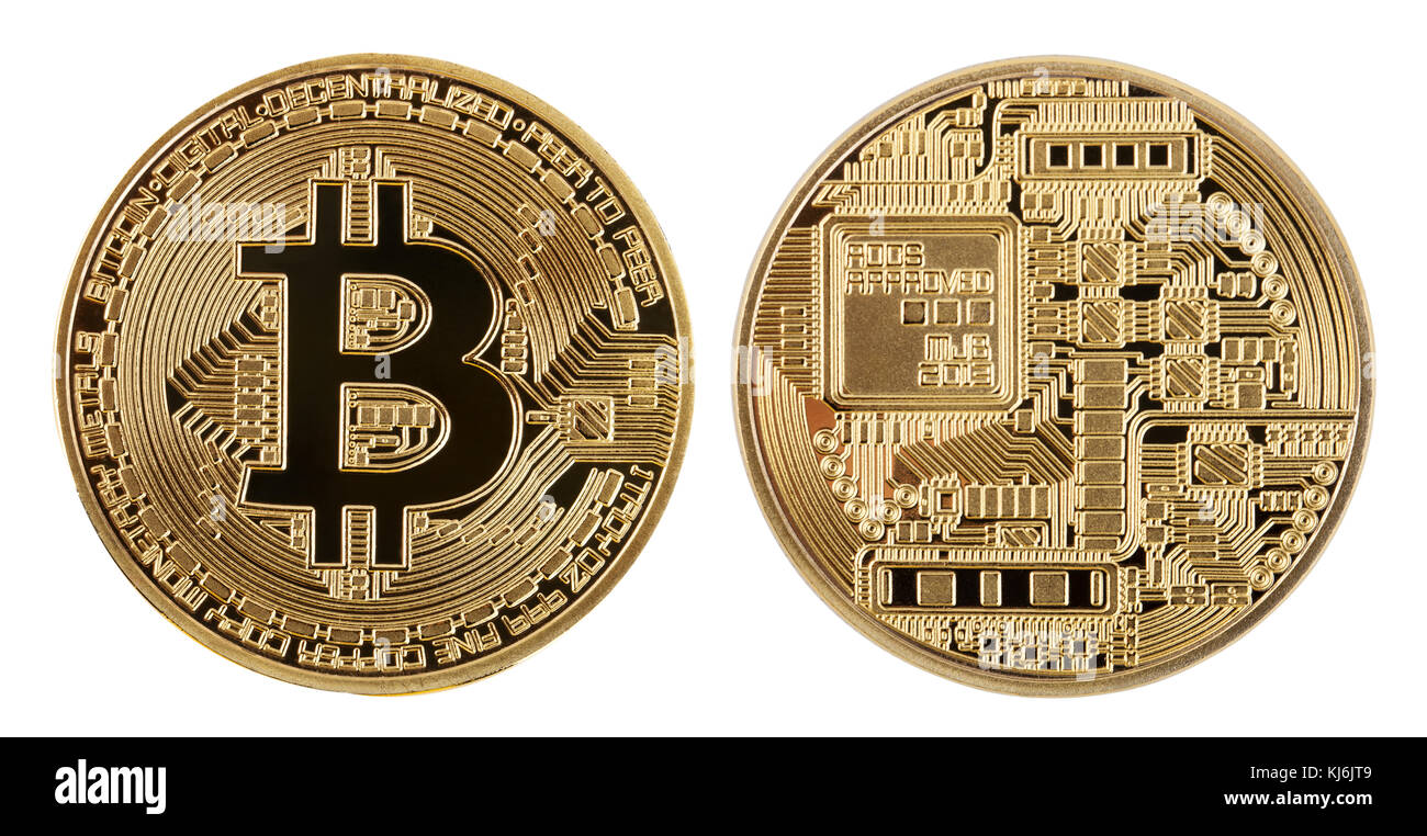 Face and back of the crypto currency golden bitcoin isolated on face and back of the crypto currency golden bitcoin isolated on white background the concept of virtual international currency and business on the in ccuart Images