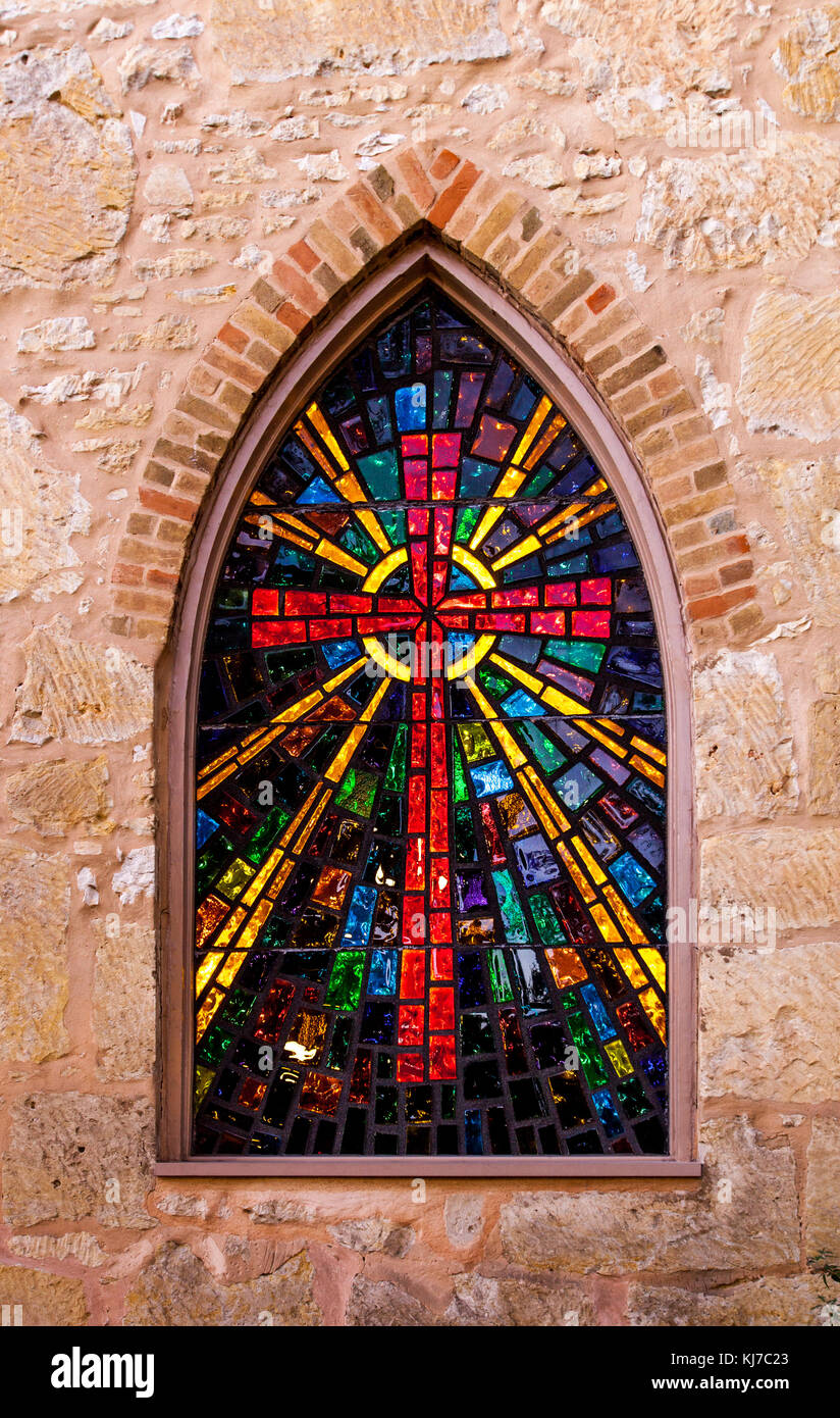 Gothic Style Church Window With Stained Glass Red Cross Made Of Stained Glass