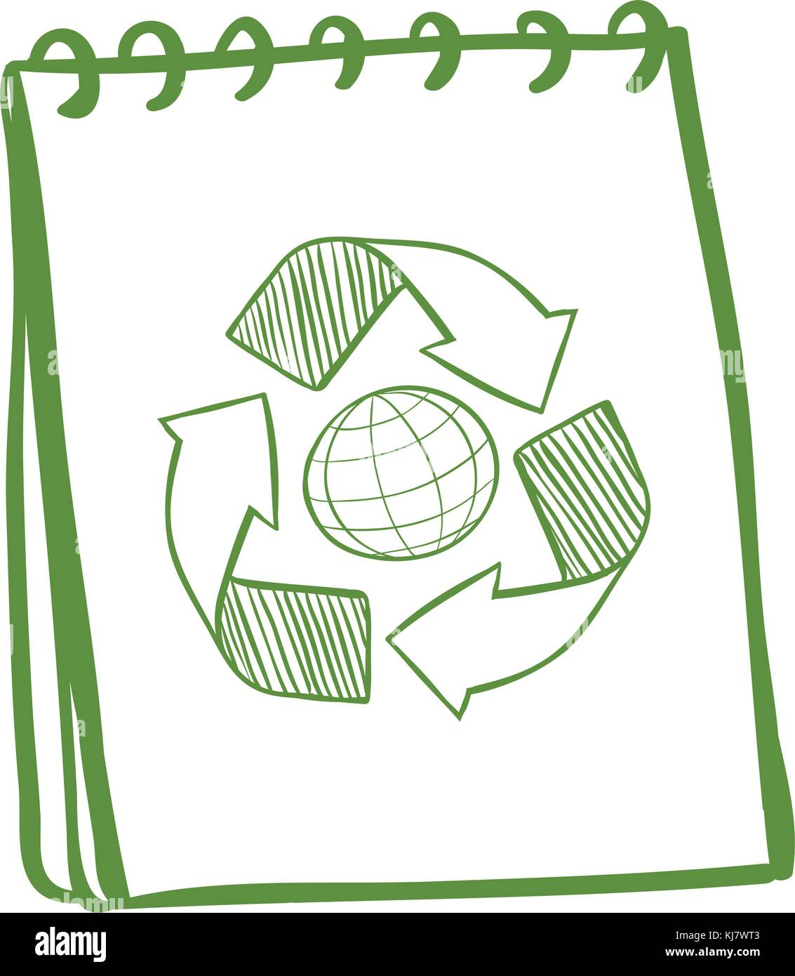Illustration Of A Green Notebook With A Drawing Of The Recycle