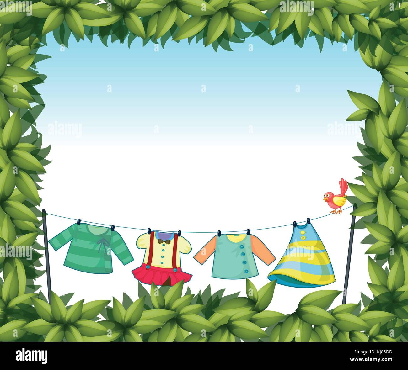 Illustration of a frame border with hanging clothes and a bird Stock ...