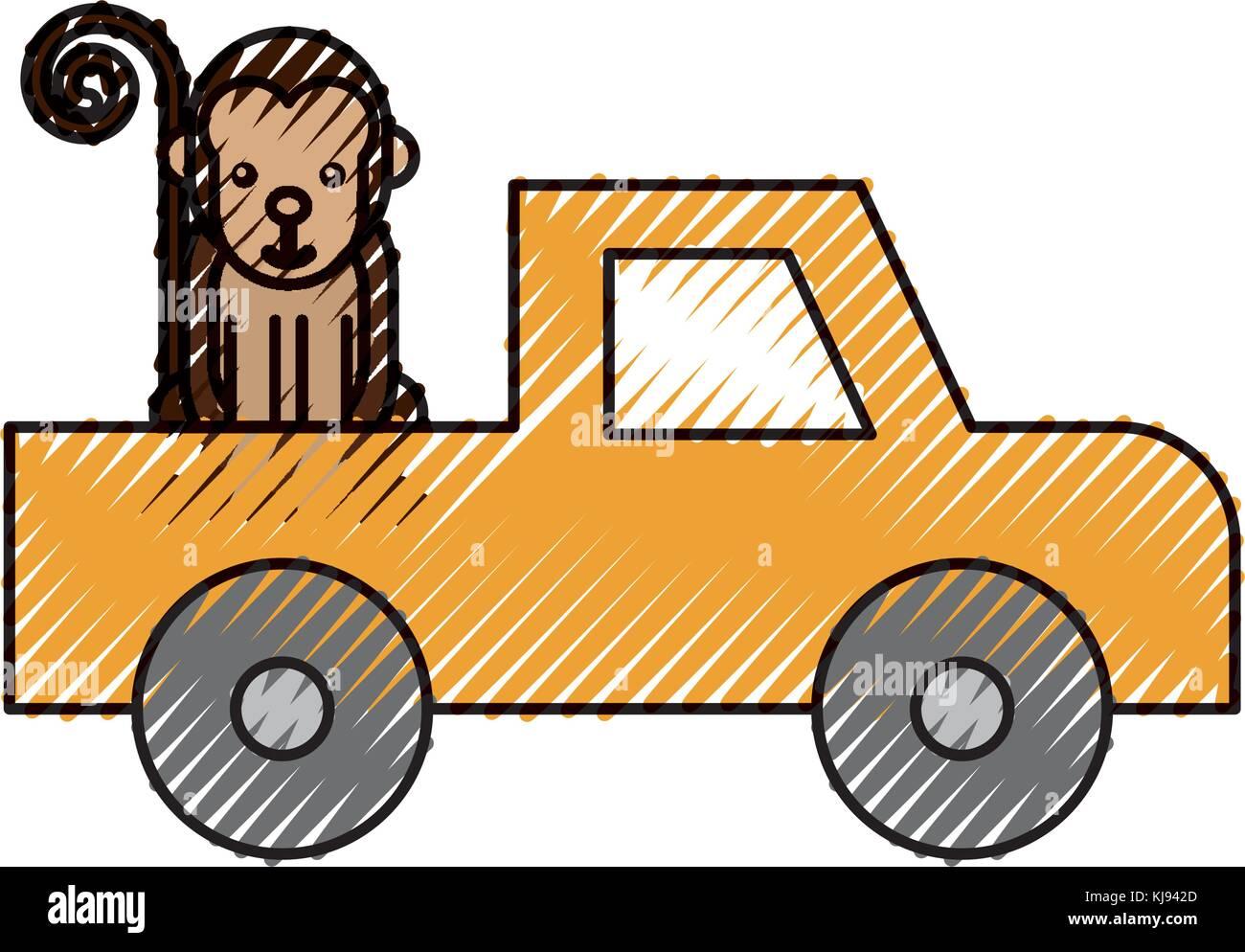 cartoon pick up vehicle safari monkey animal Stock Vector Art ...