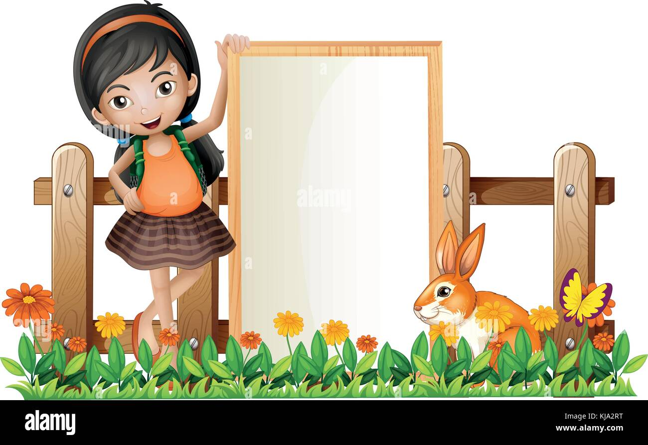 Illustration of a girl standing beside an empty frame with a bunny ...