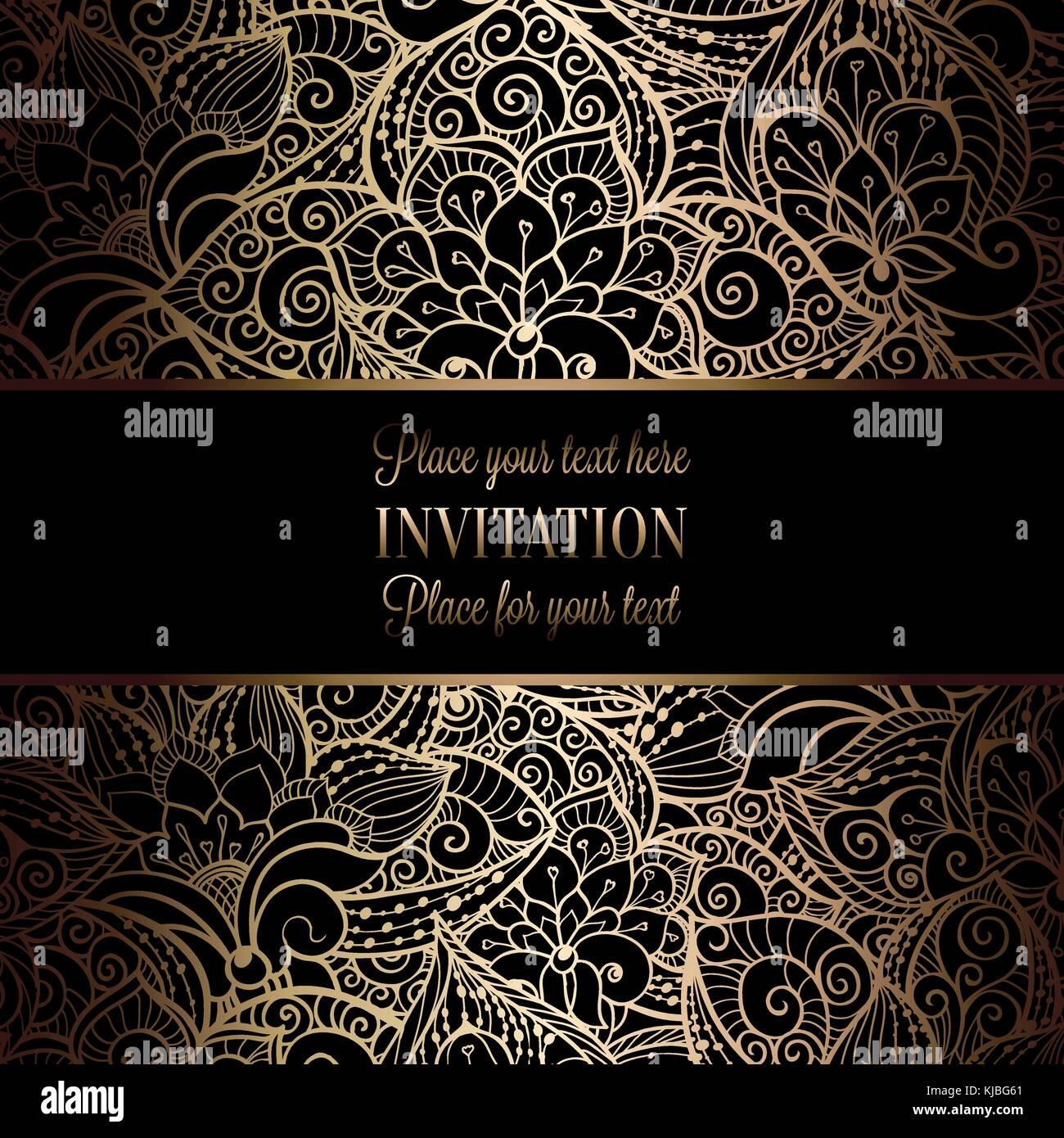 vintage baroque wedding invitation template with damask background