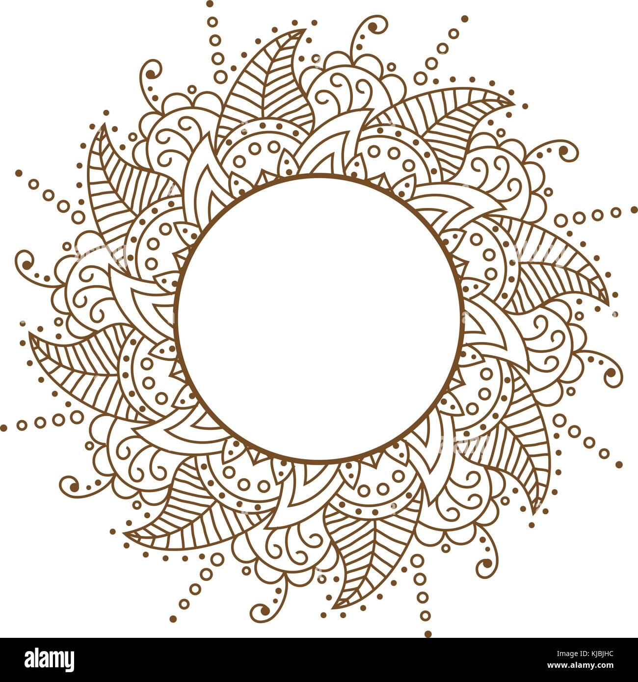 Vector openwork cloth brown. Round frame. Brown Pattern Vector f ...