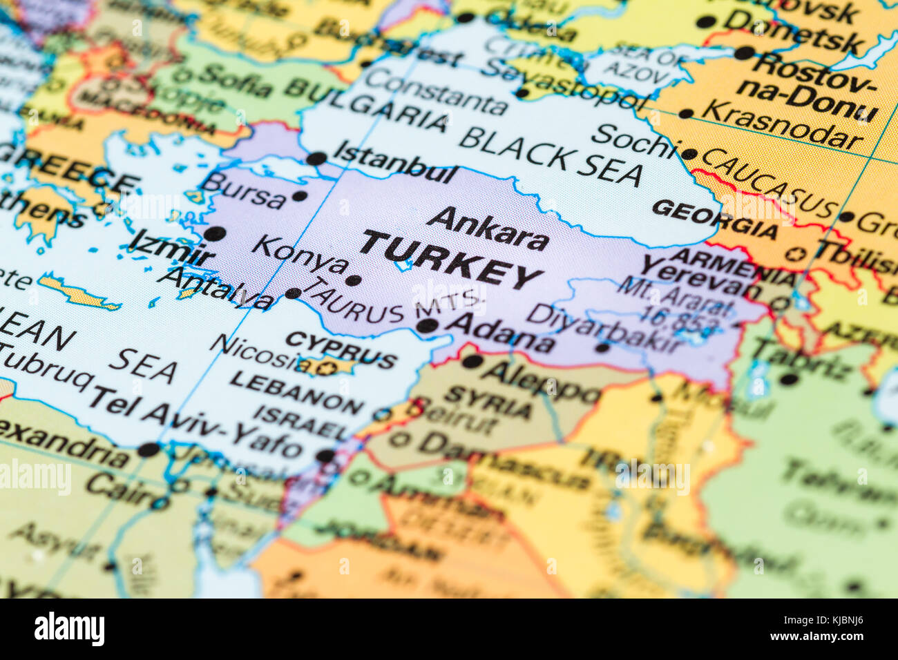 Close Up Of A World Map With Turkey In Focus Stock Photo 166215566
