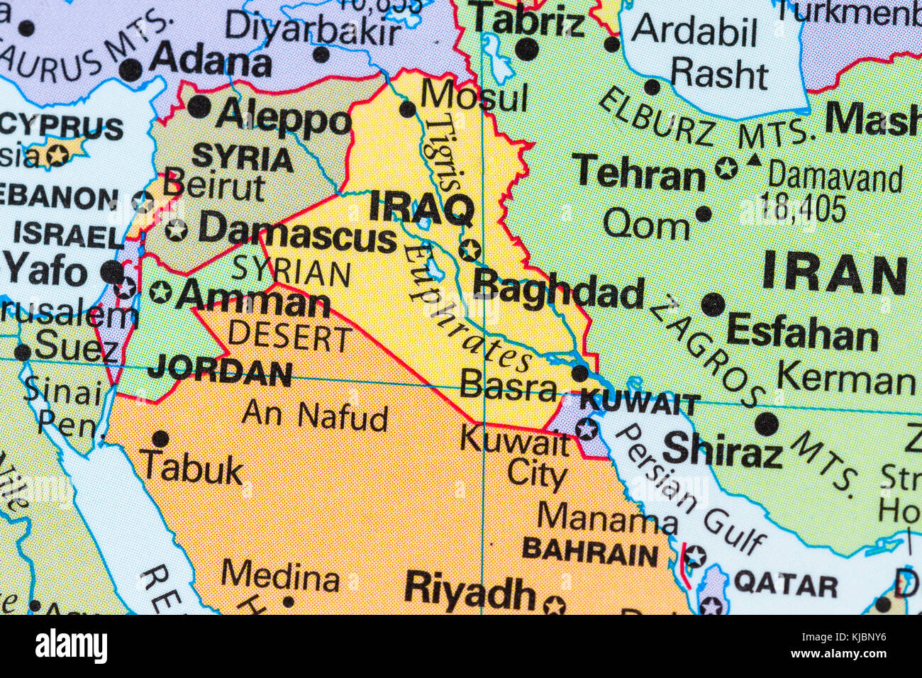 Close up of a world map with the country of iraq in focus stock close up of a world map with the country of iraq in focus gumiabroncs Choice Image