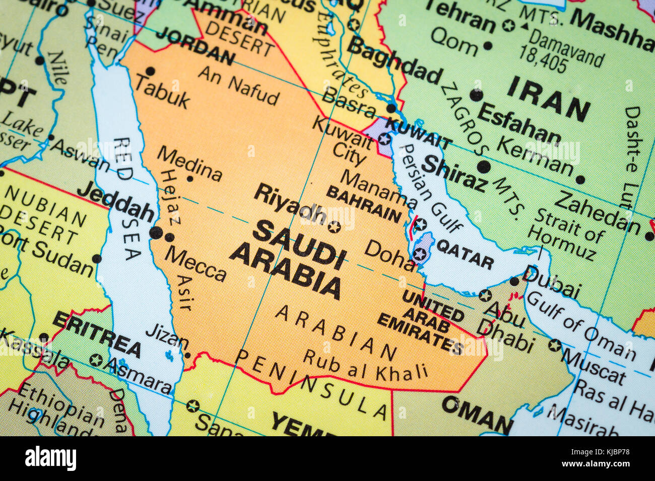 Close up of a world map with the country of saudi arabia in focus close up of a world map with the country of saudi arabia in focus gumiabroncs Image collections