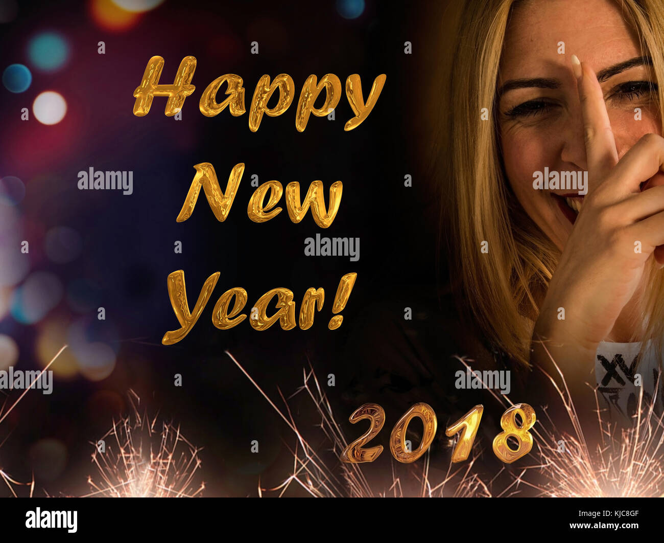 nice and funny blonde girl wishes you a happy new year 2018