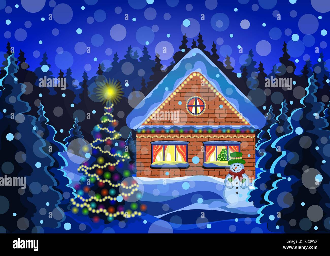 Winter Christmas Landscape Vector Drawing Night Snow Forest With Falling Snowflakes Decorated Luminous Garlands Rustic Brick House