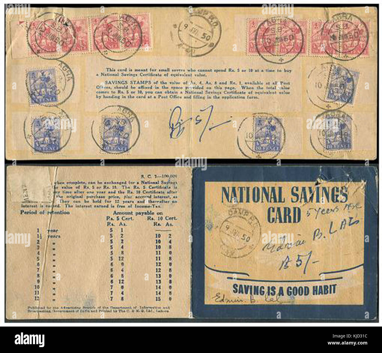 National savings book stock photos national savings book stock indian national savings card 1950 stock image 1betcityfo Choice Image