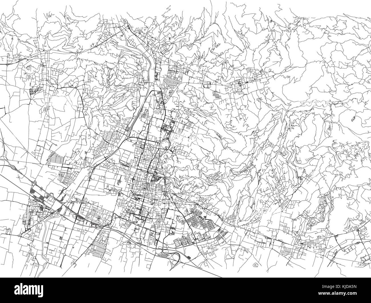 Streets Of Brescia City Map Lombardy Italy Street Map Stock