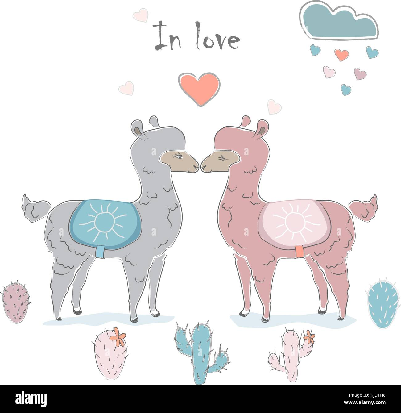 Cute Alpaca Couple For Valentine S Day And Love Cards Vector Stock