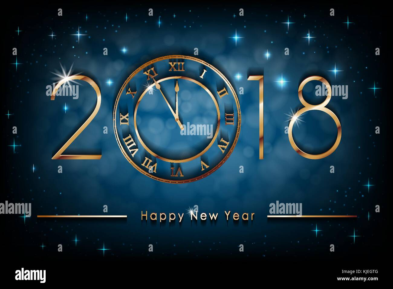 happy new 2018 year illustration on blue shiny background greetings new year banner with gold clock colorful winter background vector