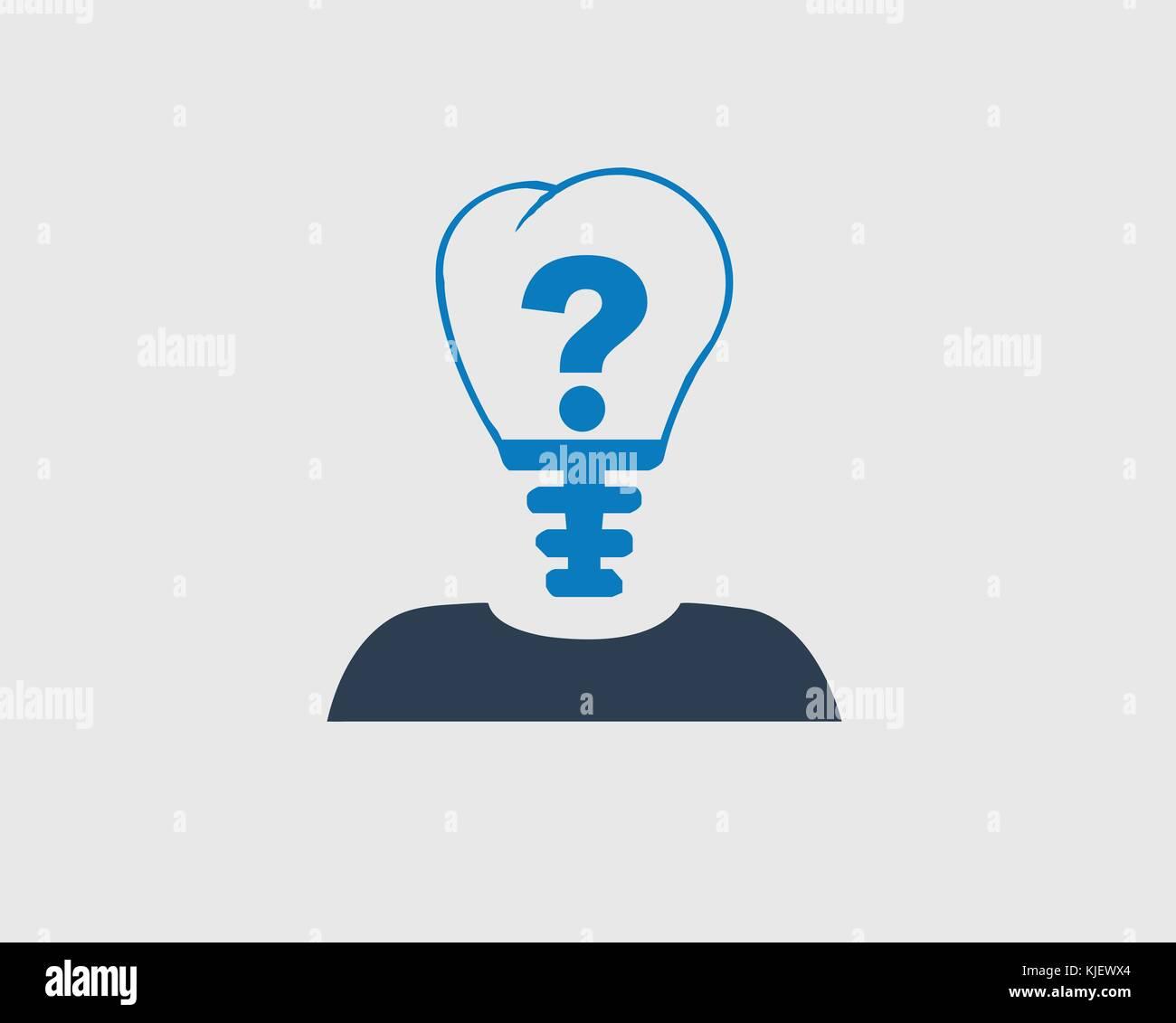 Idea Concept Icon Question Mark In Bulb Headed Person