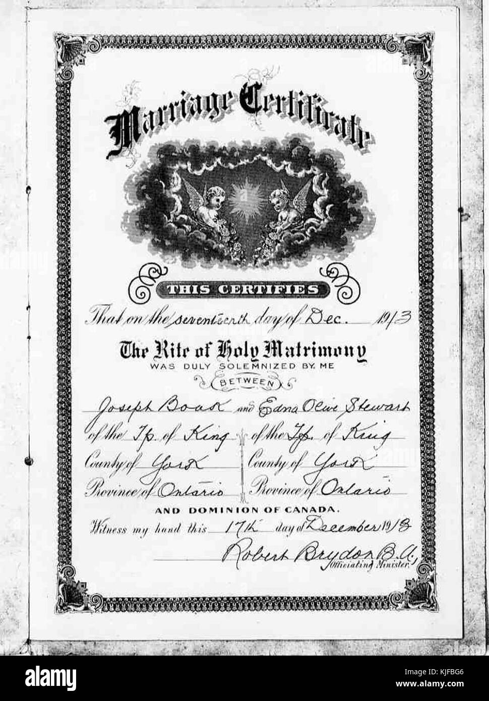 Marriage certificate black and white stock photos images alamy boak and stewart marriage certificate stock image 1betcityfo Gallery