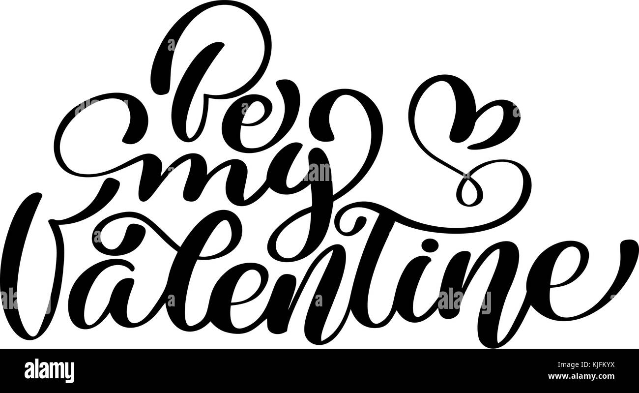 Text be my valentine on valentines day calligraphic lettering design text be my valentine on valentines day calligraphic lettering design love card template creative typography for holiday greetings vector illustration kristyandbryce Choice Image