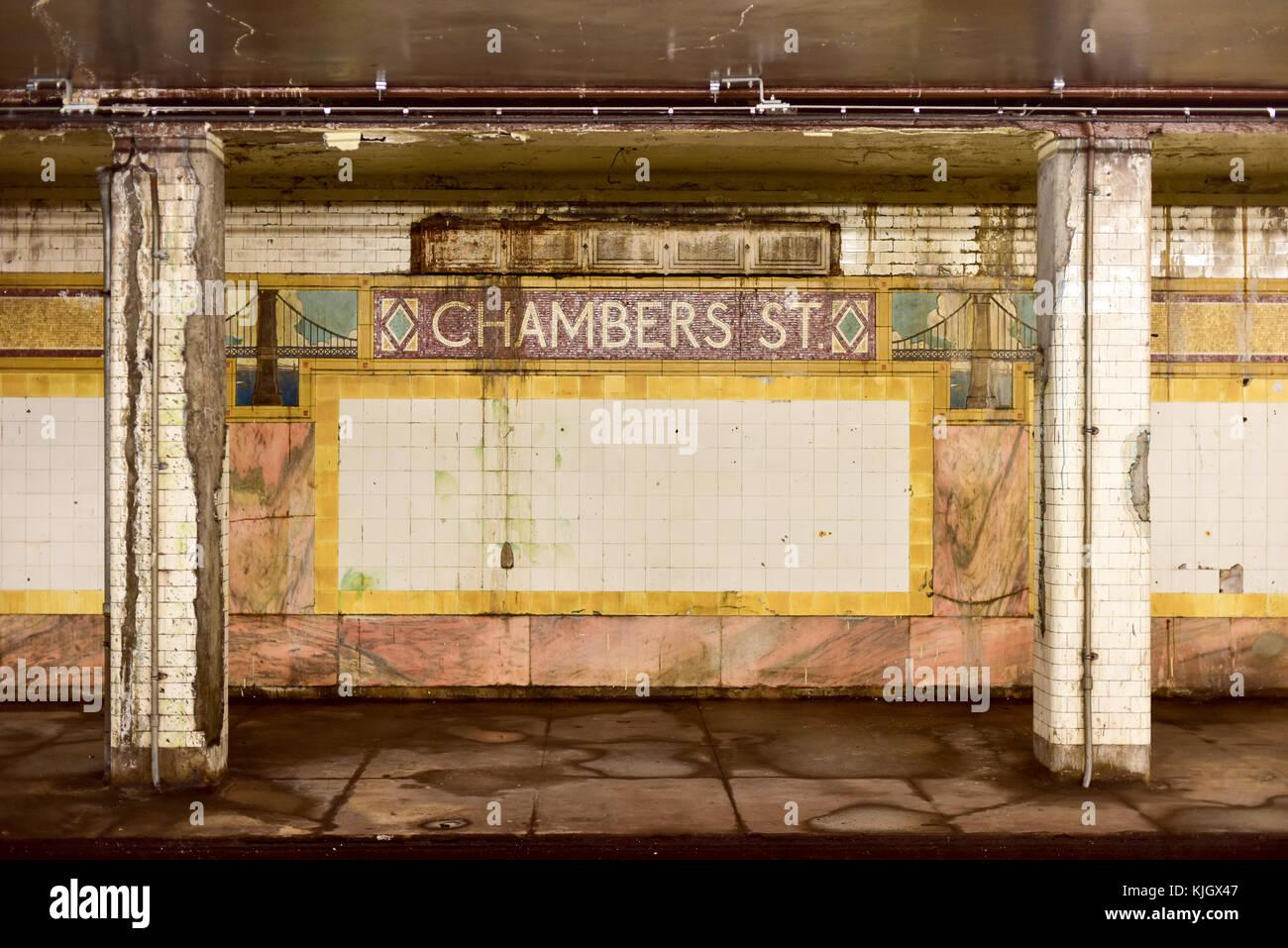 New york usa may 30 2015 chambers street subway station in new york usa may 30 2015 chambers street subway station in manhattan intricate tiles with symbols of the brooklyn bridge in terra cotta biocorpaavc Gallery