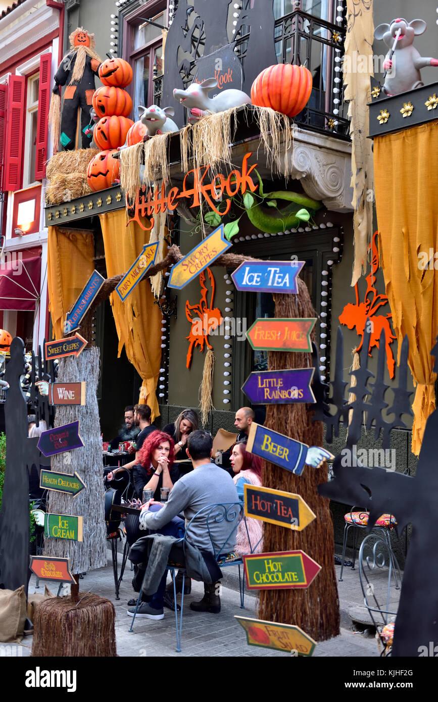 """halloween decorations at """"little kook"""" cafe near monastiriaki"""