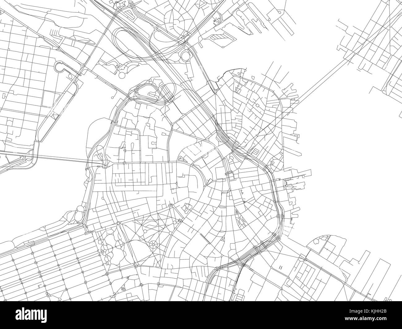 Streets of Boston, city map, Massachusetts, United States. Street ...