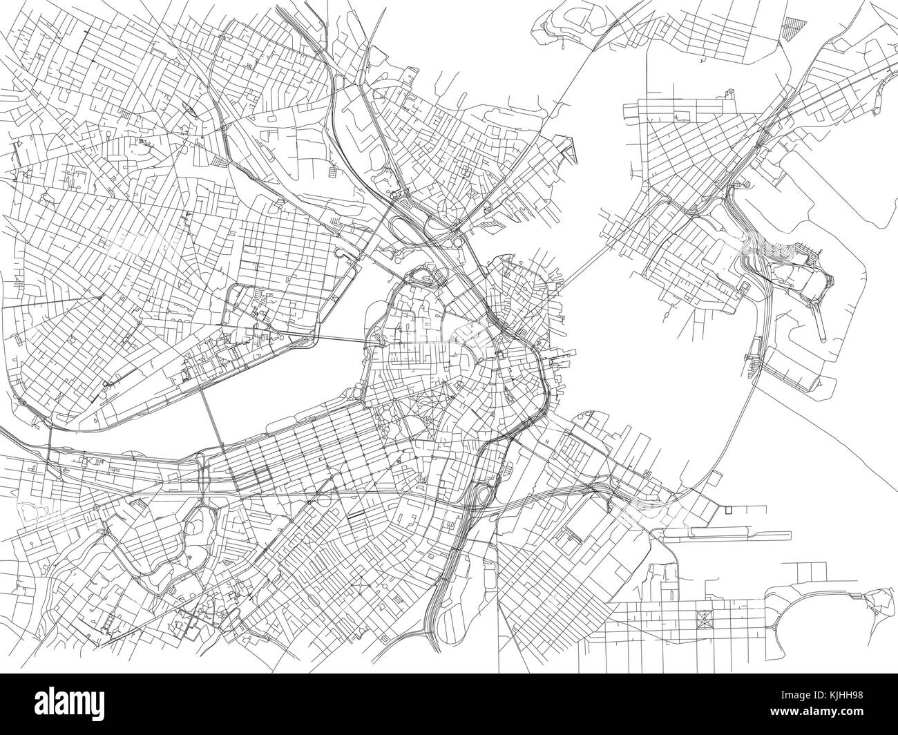 Streets of Boston city map Massachusetts United States Street