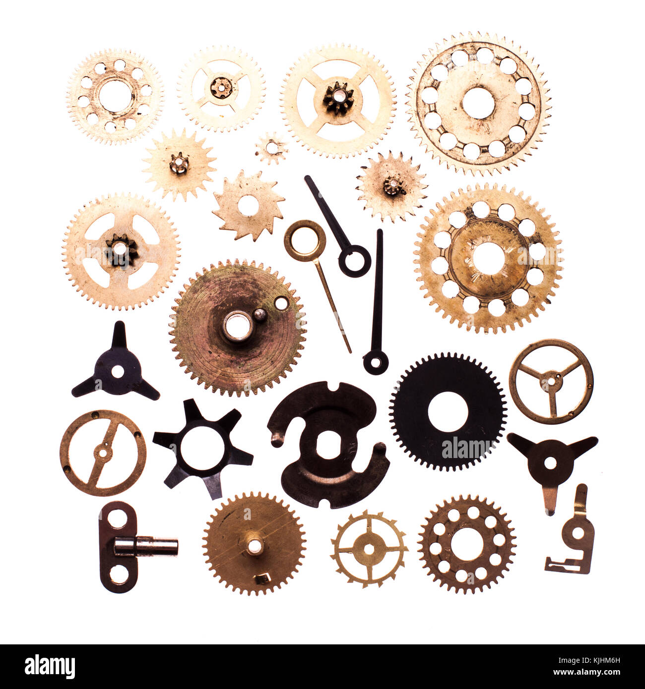 Steampunk details isolated on white. Mechanical clocks details and ...