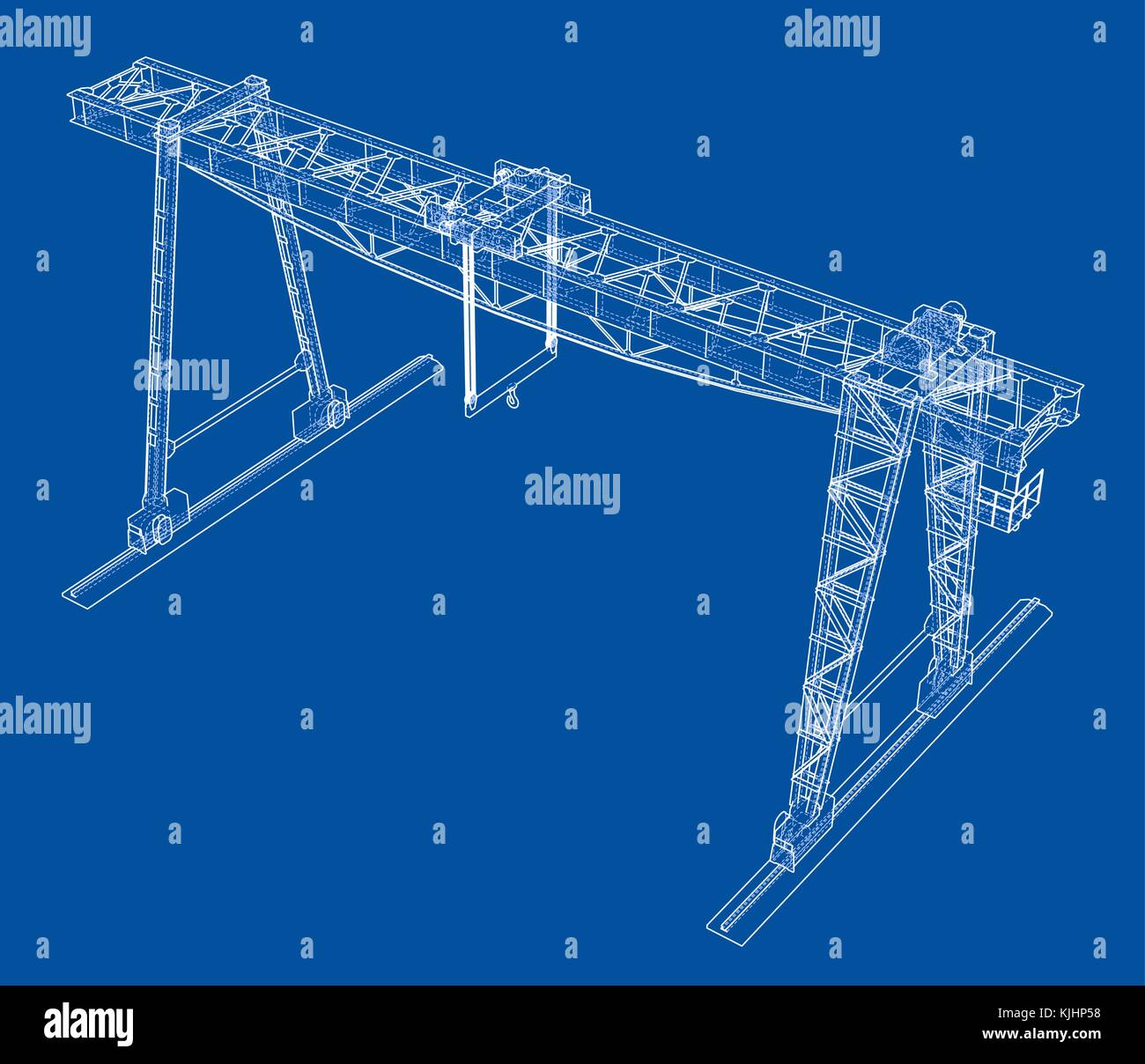 Gantry Crane Wire Frame Vector Eps10 Format Stock Art Overhead Wiring Along With Diagram