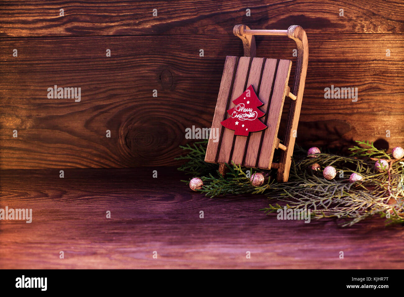 sled and Christmas decor Stock Photo: 166348556 - Alamy