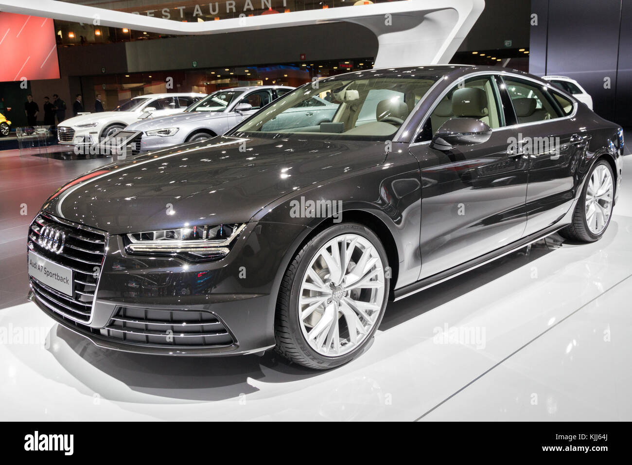 BRUSSELS   JAN 12, 2016: Audi A7 Sportback Car Showcased At The Brussels  Motor