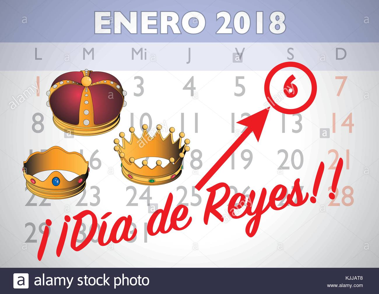 january 2018 spanish calendar sheet with an appointment for three wise men day january six dia de reyes vector illustration