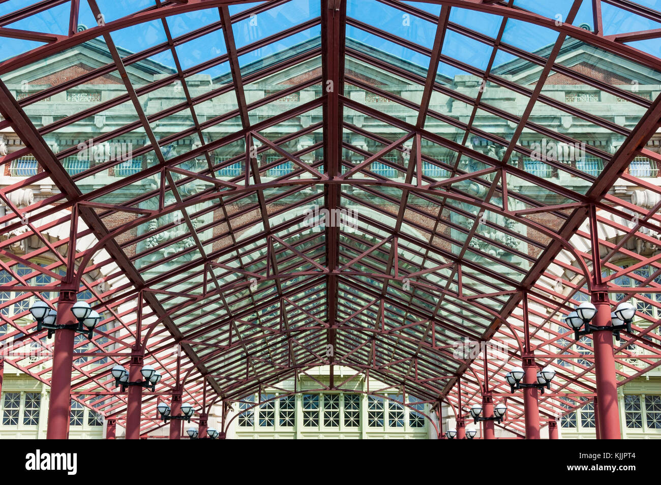 Exterior glass canopy at entrance of Ellis Island Immigration Museum Ellis Island National Park & Glass Canopy Entrance Stock Photos u0026 Glass Canopy Entrance Stock ...